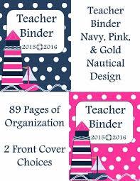 Teacher Binder Templates Navy Lesson Plan Template Teacher Binder Nautical Navy Pink And Gold
