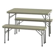 folding table bench set metal outdoor round