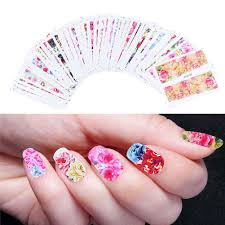 48pcs Mix Colorful Full Nail Flower Nail Art Water Transfer ...