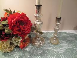pottery barn antique mercury glass taper candle candlestick holders set of 2