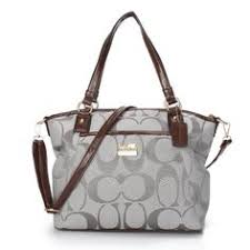 Coach Logo Monogram Medium Grey Totes BKA