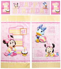 party supplieore disney minnie mouse 1st birthday scene setter wall decoration set party accessory co uk toys