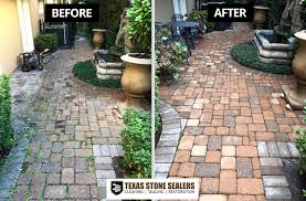concrete paver patio before and after cleaning and
