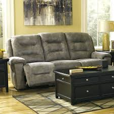 ashley reclining sofa signature design by furniture rotation microfiber in smoke with drop down table