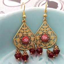 red flower golden dangle filigree earrings gypsy earrings bohemian style fashion jewelry boho accessory chandelier earrings vintage style