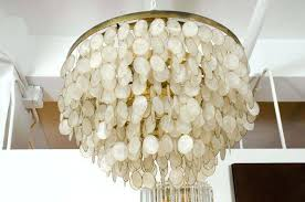 capiz shell chandelier west elm faux 6 x