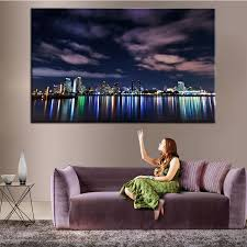 large size printing oil painting london skyline at night wall painting decor wall art picture for