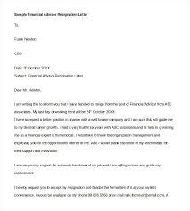 Formal Financial Advisor Resignation Letter Of Email