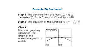 step 3 the equation of the parabola is y x2