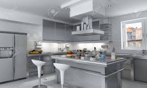 Industrial Kitchen 3d Rendering Of A Modern Industrial Kitchen With Island Stock