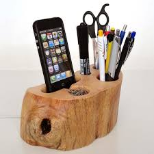 handmade wood desk organizer dock