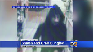 smash and grab robber in bell gardens tries for large screen tv ends up with windex