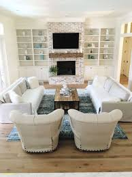 the brick living room furniture. Coastal Farmhouse Living Room White Washed Brick Oak Floors Our Insta Feed The Furniture