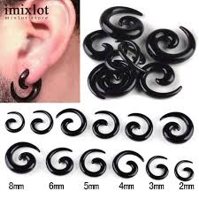 Tapers And Plugs Size Chart Wholesales 6pairs 12pcs Black Acrylic Spiral Ear Gauges