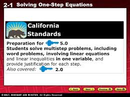 2 1 solving one step equations preparation for 5 0 students solve multistep problems