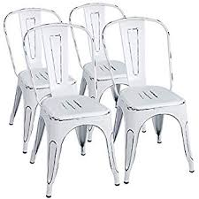 furmax metal chairs distressed style dream white indoor outdoor use stackable chic dining bistro cafe side chairs set of 4