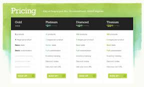 table design css. Pricing Table Example: Big Cartel Design Css