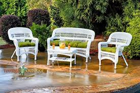 white wicker porch furniture. Contemporary White Tortuga Outdoor Furniture Portside 4Piece Seating Set With Custom  Sunbrella Cushions White Wicker And Porch R