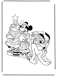 Pluto En Mickey Met Kerstboom Kleurplaat Mickey Mouse Kleurplaat