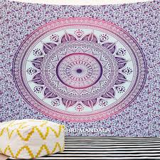 pink purple large ombre mandala wall tapestry