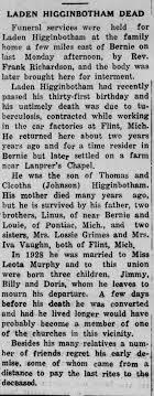 Obituary for Laden Higginbotham - Newspapers.com
