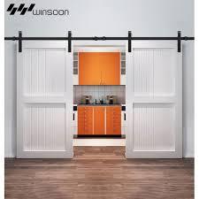 winsoon 5 16ft sliding barn door hardware aluminum rollers track kit cabinet closet j
