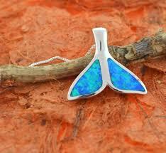 blue opal whale tail pendant sterling silver hawaiian cute whale lovely ocean