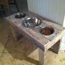 pallet wood dog bowl stand by kandjpetscreations on
