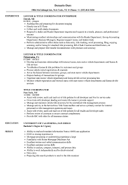 Title Coordinator Resume Samples Velvet Jobs