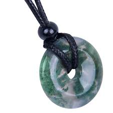 amulet lucky coin shaped donut green moss agate charm good luck and protection powers pendant necklace