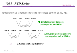 rtd sensor temperature ppt video online download 4 Wire Rtd Wiring To 3 Wire vol i rtd series temperature vs  relationships and tolerances confirm to iec 751 wiring a 4 wire rtd to 3 wire