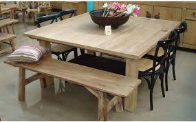 rustic square dining table. Exquisite Square Dining Table From Solid Wood : Rustic Oak With Bench And I