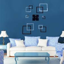 office room diy decoration blue. Artistic Square Wall Clock DIY Large Home Office Room Decor 3D  Mirror Surface Sticker Office Room Diy Decoration Blue I