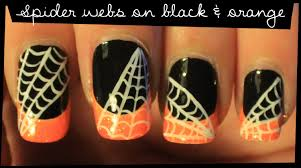 Nail Art Spider Web Design Spider Web On Black And Orange Nail Art Tutorial Video Nails