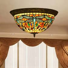stained glass ceiling light. Vintage Tiffany Style Stained Glass Dragonfly Ceiling Lamp Fixture Flush Mount Light R