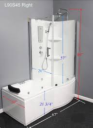 Shower Combo L90s45 W Left Whirlpool Massage Tub Shower Combo Luxury