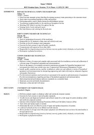 Computer Repair Technician Resume Samples Velvet Jobs
