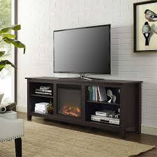 walker edison 70 inch tv stand with electric fireplace espresso w70fp18es