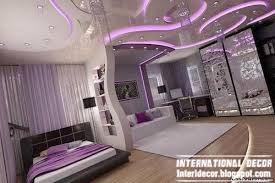 contemporary bedroom design ideas with unique ceiling and purple led lighting bedroom led lighting ideas