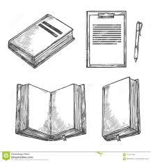 Design In Drawing Book Book Notebook Pen And Clipboard Sketch Design Stock Vector