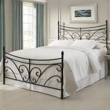 Bedroom Metal Mattress Frame King Size Wrought Iron Bed White Queen ...