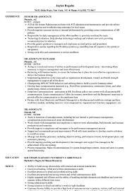 Hr Associate Resume Samples Velvet Jobs