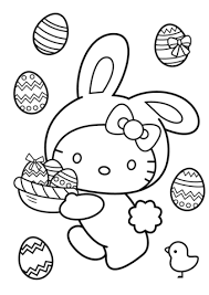 Hello Kitty Easter Bunny Coloring Page Free Printable Coloring Pages