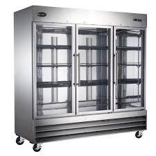 three glass door commercial refrigerator in