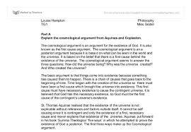 the cosmological argument gcse religious studies philosophy document image preview