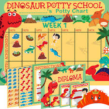 Frog Themed Behavior Chart Potty Training Chart For Toddlers Dinosaur Theme Sticker Chart Celebratory Diploma Crown And Book 4 Week Potty Chart For Boys And Girls