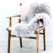 Faux Sheepskin Throw In Chair Rug Grey Bed Linen Fur  Dining92