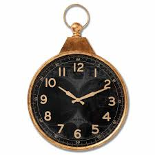 black and gold pocket watch wall clock