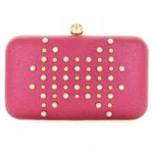 faux pearls studs box clutch