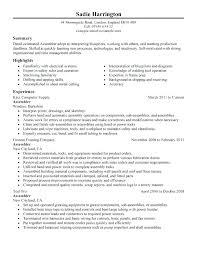 Sample Mechanical Assembler Resume Sample Electronic Assembler Unique Assembler Resume